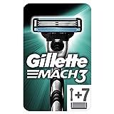 Gillette Mach3 Maquinilla de Afeitar + 7 Cuchillas de Recambio, Regalos Originales para Hombre