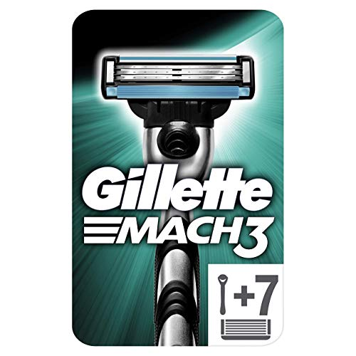 Gillette Mach3 Rasierer, mit 7 Rasierklingen, Briefkastenfähige Verpackung