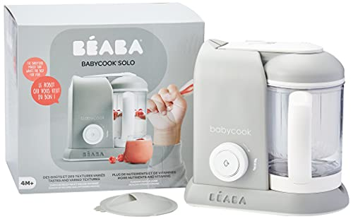 BÉABA - Babycook Solo, Cuocipappa Omogeneizzatore, Cottura a Vapore, Robot per Pappe 4 in 1 : Mixer + Cottura, Neonato e Bambino, Made in France, Grigio