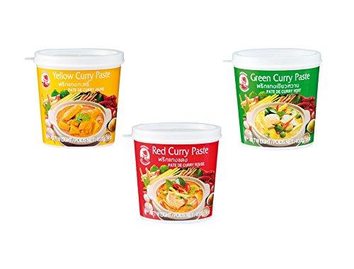 Pamai Pai Juego de 3 Cock Curry Paste, Amarillo - Verde - Rojo - 3 Unidades de 400 g