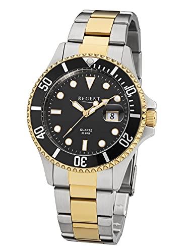 Regent Reloj de hombre con pulsera de acero inoxidable de 40 mm de diámetro con corona atornillada, 30 bar, cuarzo, fecha., Bicolor.,