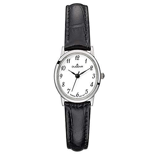 DUGENA Damen-Armbanduhr Vintage, Quarz, Edelstahlgehäuse, gehärtetes Mineralglas, Lederarmband, Dornschließe, 3 bar (schwarz/Silber/weiß)