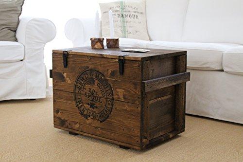 """Holztruhe Couchtisch """"Sewing Machine"""", Massivholz Nussbaum, 65x40x46cm - 4"""
