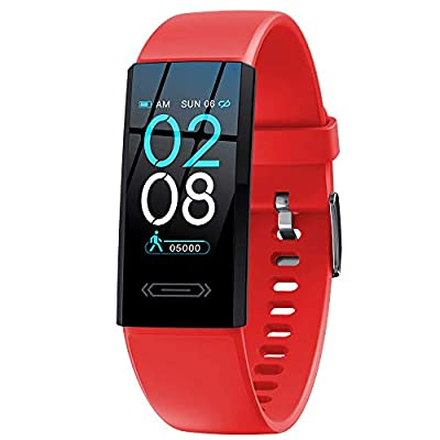 2021 Version Fitness Activity Tracker with Temperature Measurement Heart Rate Sleep Health Monitor Smart Watch Pedometer Calories Counter Smartwatch Gift for Women Men Teens Kids (Red)