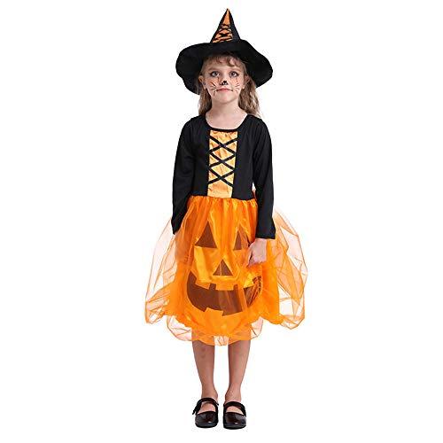 WANG Halloweenkostüm Kürbis-Kleid Leuchtende Nacht Mädchenbühnenkostüme Kinder/L