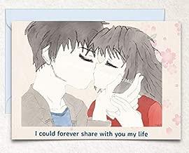 Anime Couple Kissing Love, Birthday, Valentine's Day Hand Drawn Original Poetry Greeting Card