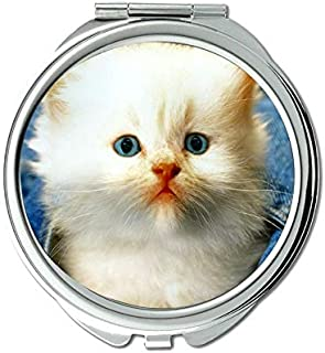 Mirror,Compact Mirror,Jeans Kitten animal cat white mirror for Men/Women,1 X 2X Magnifying