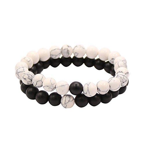 Believe London Distance Bracelets de avec Sac de Bijoux et Carte de Signification Howlite Blanc Agate Onyx Noir Amiti/é Relation Couples Son Ses Fort /élastique