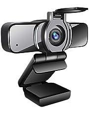LarmTek HD Webcam 1080p met Privacy Shutter,Webcam PC Laptop Camera met Microfoon, Breedbeeld Video Bellen en Opnemen Ondersteuning voor Conferentie, W3, UK