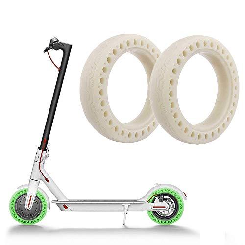 Linghuang M365 Roller Rad Bienenwaben Gummi Vollreifen 8,5 Zoll 8 1/2 × 2 Leucht Stofflampen Reifen Schlauchloser Leuchtender Vollreifen für Xiaomi M365 Elektrischen Roller (2 PCs)