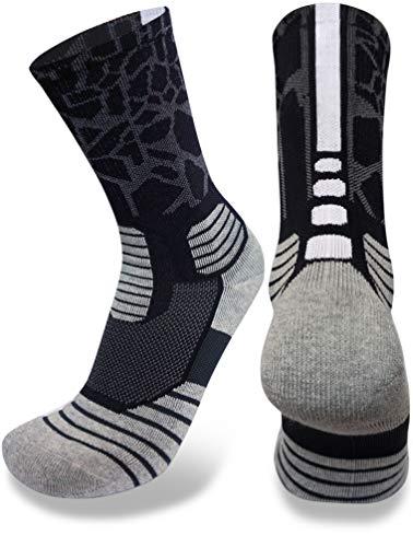 Elite Performance Crew Socks (Black, Medium, m)