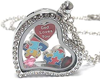 Lola Bella Gifts Crystal Autism Awareness Necklace w Gift Box
