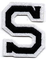 S – Buchstabe; Aufnäher/Patch mit Bügel-Klebe-Fläche zum fixieren