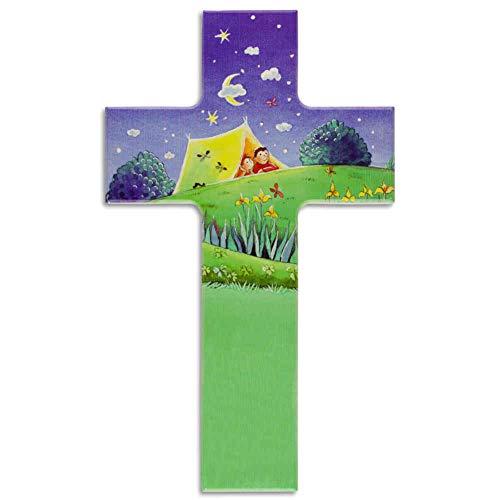 kruzifix24 - Cruz de madera para niños, diseño de niños en la tienda de campaña bajo un cielo estrellado brillante, con cruz de madera, multicolor estampada, 20 x 12 cm, nacimiento, bautizo, comunión
