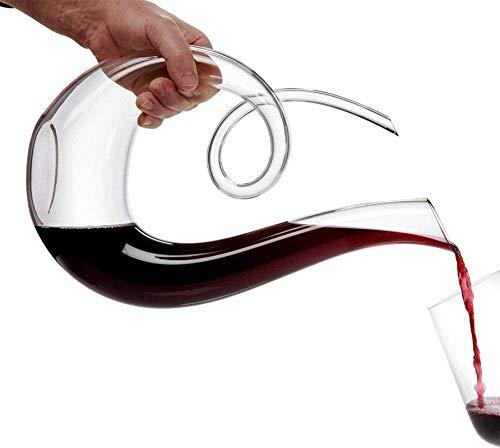 Decantador de vino de cristal hecho a mano, Skull Glass Vino Decantador y gafas Set Blown Crystal Wine Antter, Aireador sin plomo Vidrio de vino tinto de vino con gotas de limpieza, excelentes regalos