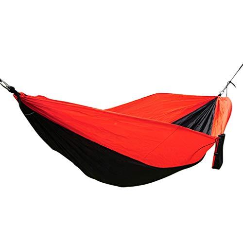 A/N Camping Hamac | Double séchage Rapide Parachute NylonHamac | Extérieur Jardin intérieur | Noir et Rouge
