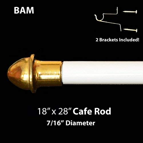 Royal Trading White Cafe Rod. Adjustable from 18' to 28'. All Hardware Included.