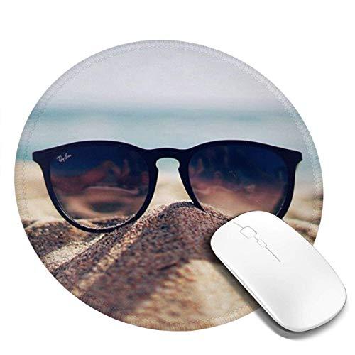 Alfombrilla de ratón Redonda Lavable – Alfombrilla de ratón de impresión con Gafas para Ordenador/portátil – Alfombrilla de ratón de Goma Antideslizante de 7,87 x 7,87 Pulgadas
