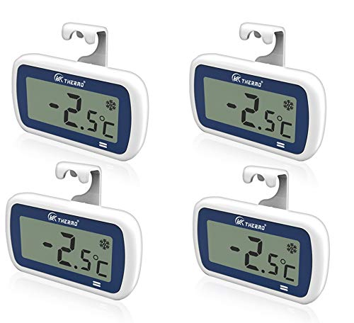 """4 Pack Waterproof Freezer/Refrigerator Thermometer with 2"""" Large LCD, IP65 Alarm–Professional Digital Accurate Mini Fridge thermometer – for Fridge, Refrigerator, Freezer, rv Freezer Fresh Stored (4)"""
