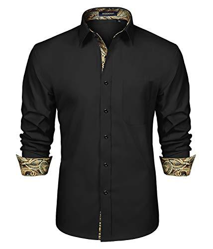 Camicie Paisley da Uomo Manica Lunga Colletto Classico alla Moda Abbottonato Camicie...