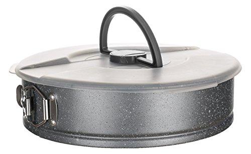 Banquet Granite Cake Pan with Plastic Lid, Carbon, Grey, 28 x 28 x 9 cm