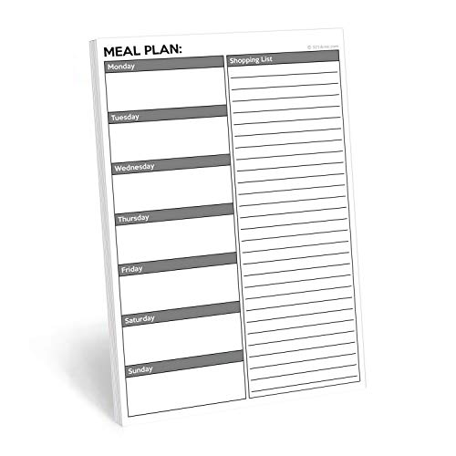 "321Done Meal Planning Notepad - 50 Sheets (5.5"" x 8.5"") - Weekly Meals Planner Shopping List Menu Groceries Grocery List, Tear Off Memo Pad - Made in USA - Plan White Gray"