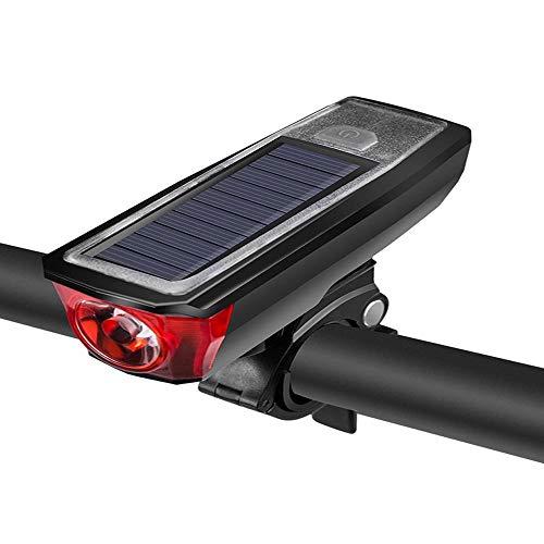 Luz de bicicleta, carga solar con carga USB de cuerno, cinco modos, fácil de instalar, IPX4 impermeable, adecuado para todas las bicicletas, carreteras de montaña (Negro)