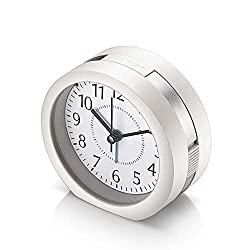 Analog Alarm Clock, 4 inch Super Silent Non Ticking Small Clock with Snooze and Night Light, Battery Operated Travel Alarm Clock, Simply Design, for Bedroom, Bedside, Desk (White)