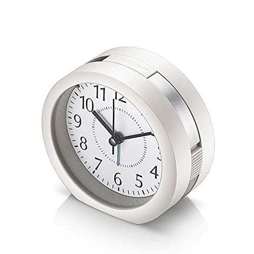 Analog Alarm Clock, 4 inch Super Silent Non Ticking Small Clock with Snooze and Night Light, Battery Operated Travel Alarm Clock, Simply Design, for Bedroom, Bedside, Desk(White)