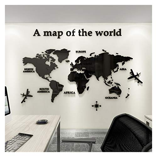 FQF Home decoration World Map 3D Acrylic Wall Stickers Crystal Mirror Stickers for Office Sofa TV Background Wall Decorative Stickers (Color : Black, Size : M about 1.2x0.6m)
