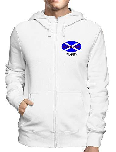 Sweatshirt Hoodie Zip Weiss TRUG0073 Scotland Rugby