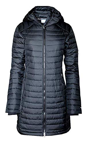 Columbia Women's White Out Mid Omni-Heat Long Hooded Jacket Coat Puffer (S, Black)