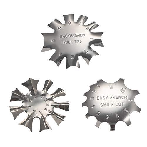 hellomagic 3 Stück Edelstahl Maniküre Schablone Nail Art Edge Trimmer für Acryl UV Gel Modellage, 3 in 1 mit 3 Größe