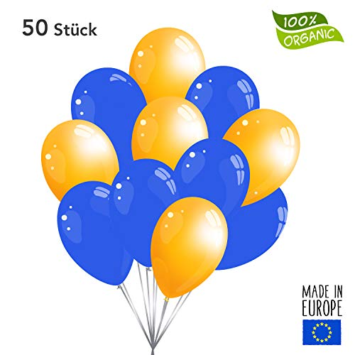 50 Premium Luftballons in Blau/Orange - Made in EU - 100% Naturlatex somit 100% giftfrei und 100% biologisch abbaubar - Geburtstag Party Hochzeit Silvester Karneval - für Helium geeignet - twist4®