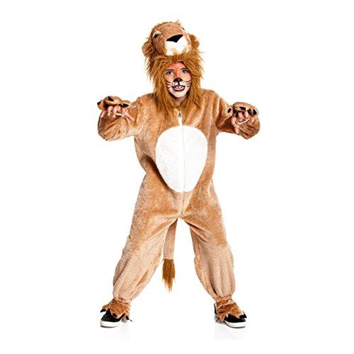 Kostümplanet® Löwenkostüm Kinder mit Mähne und Pfoten Löwen Kostüm Verkleidung Löwe Kinderkostüm Fasching Jungen Tierkostüm Kind Karneval Größe 104