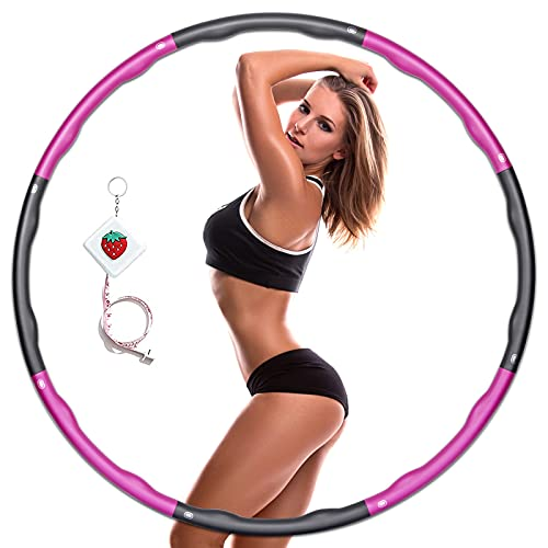KOVEBBLE Hula Reifen für Erwachsene, Gewichteter Fitness Hoop Reifen 1.2kg, 8 Hulla Hoop Kinder,Hula Fitnesskreis zum Sport, Hullahub Reifen zum Abnehmen Sportgeräte