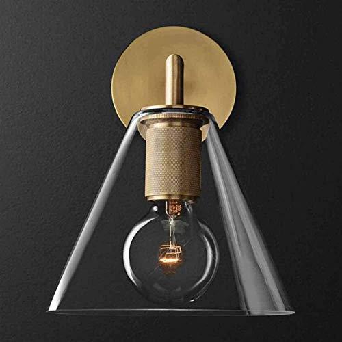 QIQIZHANG Lámpara de Pared Retro Aplique, Lámpara de Pared de Cobre Simple Creative Art Style Ronda Ronda para Fondo Paredes Habitación Dormitorio Habitación de Hotel Sconce, Brass, 25x17cm
