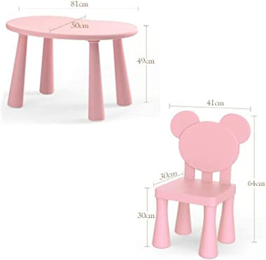 CHAXIA Child Table Chair Household Kindergarten Plastic Safety Game Table, 2 Color Options (Color : A)