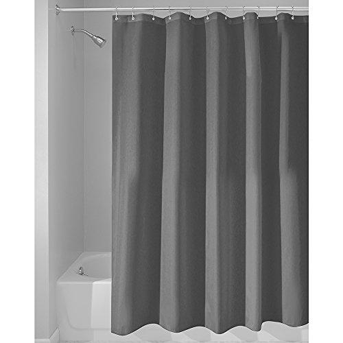 iDesign Duschvorhang aus Stoff | wasserdichter Duschvorhang mit verstärktem Saum | waschbarer Textil Duschvorhang in der Größe 183,0 cm x 183,0 cm | Polyester dunkelgrau