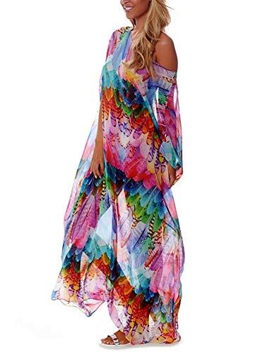 Bsubseach Mujer Vestido Bohemio Multicolor Traje de baño Estampado Cubrir Bikini Ropa de Playa Transparente Camisola y Pareos