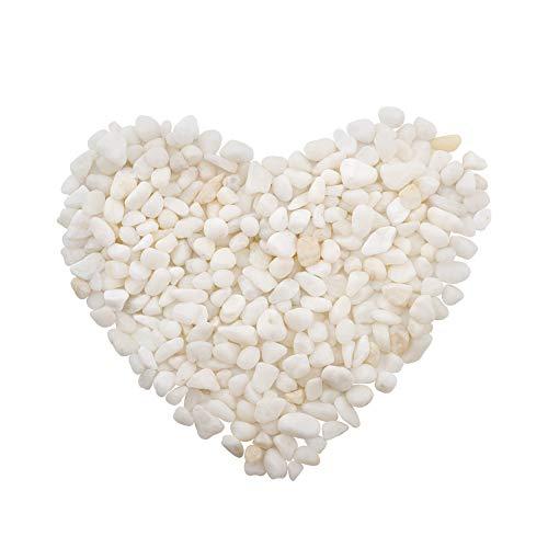 WANDIC Decorative Stones Beads, 100 Grams White Polished Stone for Home Decor Art Craft Vase Filler Candle Decoration