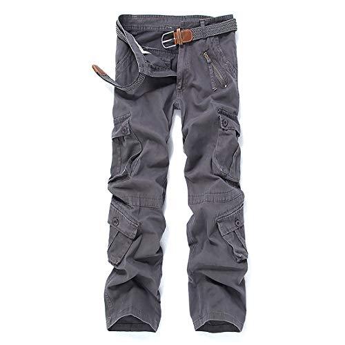 iCKER Herren Cargo Hose Camouflage Pants Camo Trousers Arbeitshose Freizeithose,Grau,36