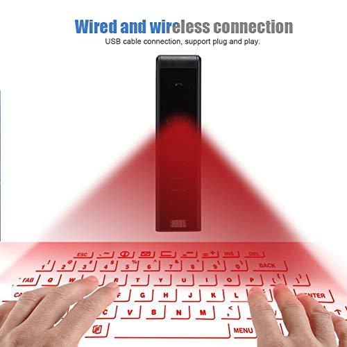 Virtuelle Tastatur, holografische L-Aser-Projektions-Bluetooth-Funktastatur, kleine und praktische virtuelle Tastatur, Tastatur und Maus für die meisten Bluetooth-Geräte, Mobiltelefone, Tablets, Noteb