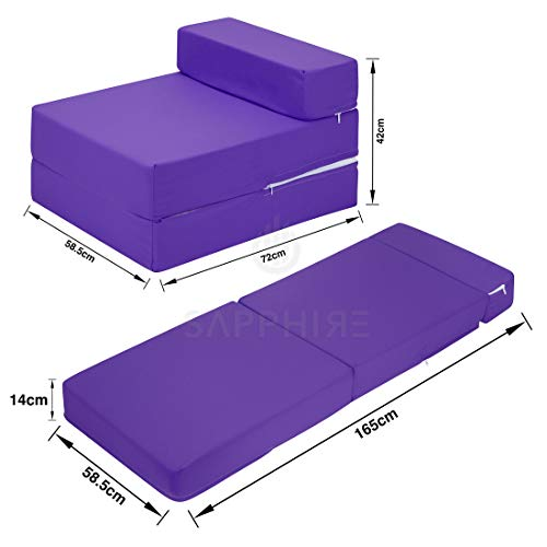 Sapphire 100% Cotton Z Bed Single Fold Out Chair Bed Guest Fold Out Futon Sofa Mattress Foam Soft, Comfortable with a Zipped Removeable Cover 10 Colours.(Purple)