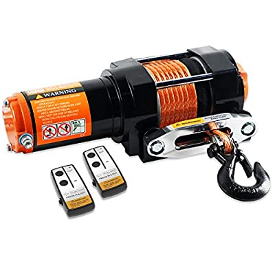 ORCISH 12V 3500lb Electric Winch ATV UTV Synthetic Rope Winch Kits (Synthetic Rope Style)
