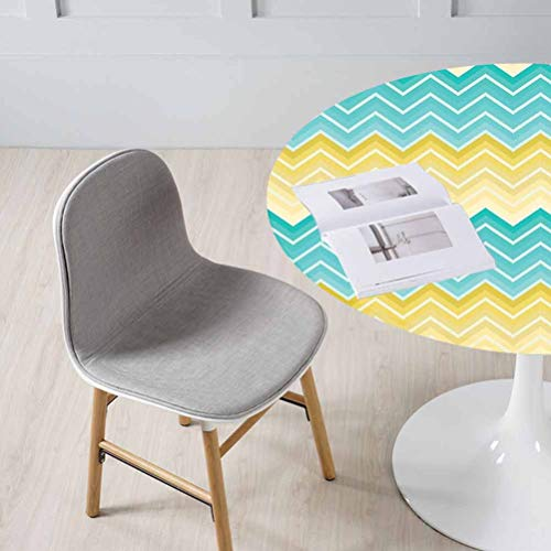Yellow and Blue Table Cloth Cover Horizontal Chevron Motifs Zigzag Lines Pattern Ombre Inspired Design – Cafe Indoor/Outdoor Picnic, BBQ Aqua Mustard fits Diameter Appro 47 inch Round Tables