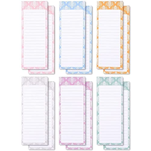 Colorful Magnetic Notepads for Refrigerator, Grocery, Shopping, to-Do Lists, Memos, 6 Elegant Design (12 Pack)