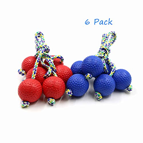 Sports Festival Replacement Ladder Ball 6 Bolas for Lawn Yard Outdoor Toss Game, Red & Blue