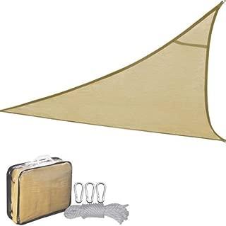 New Leaf Triangle Sun Shade Sail Mesh Tarp for Outdoor Patio Pools (16.5, Desert Sand)