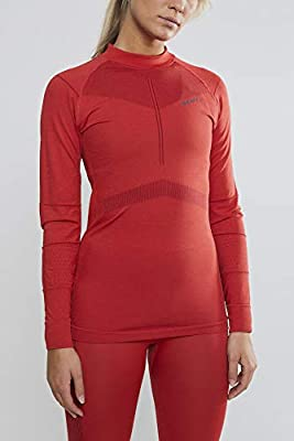 Craft Women's Active Intensity Long Sleeve Crew Neck Base Layer Shirt, Beam/Rhubarb, X-Large